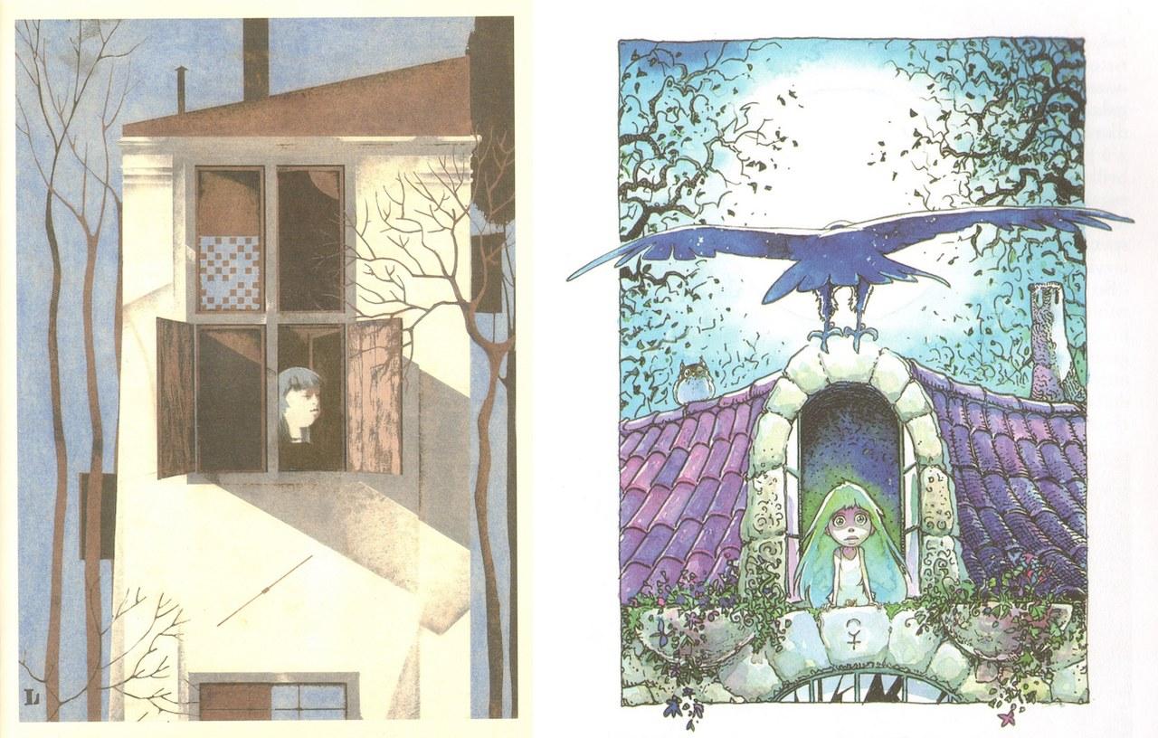 <p>Fig. 8a. Leonardo Mattioli, <em>Pinocchio porta in testa la brocca della buona donna. </em>Fig.8b. Massimiliano Frezzato, <em>La bella Bambina si affaccia alla finestra</em></p>