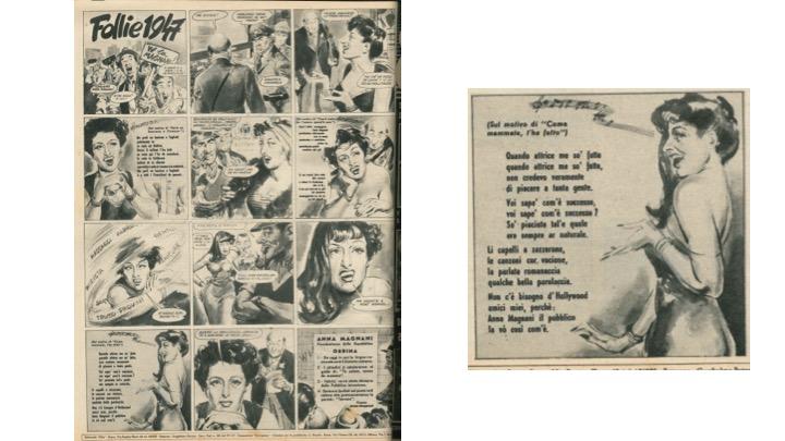 """<p><em>Follie 1947. </em>Grande rivista ad immagini realizza da Ciriello in """"Otto. Settimanale di varietà"""", n. 9, 16 marzo 1947 - A dx un dettaglio della tavola</p><p><span style=""""line-height: 20.8px;"""">Coll. Museo Nazionale del Cinema, Torino</span></p>"""