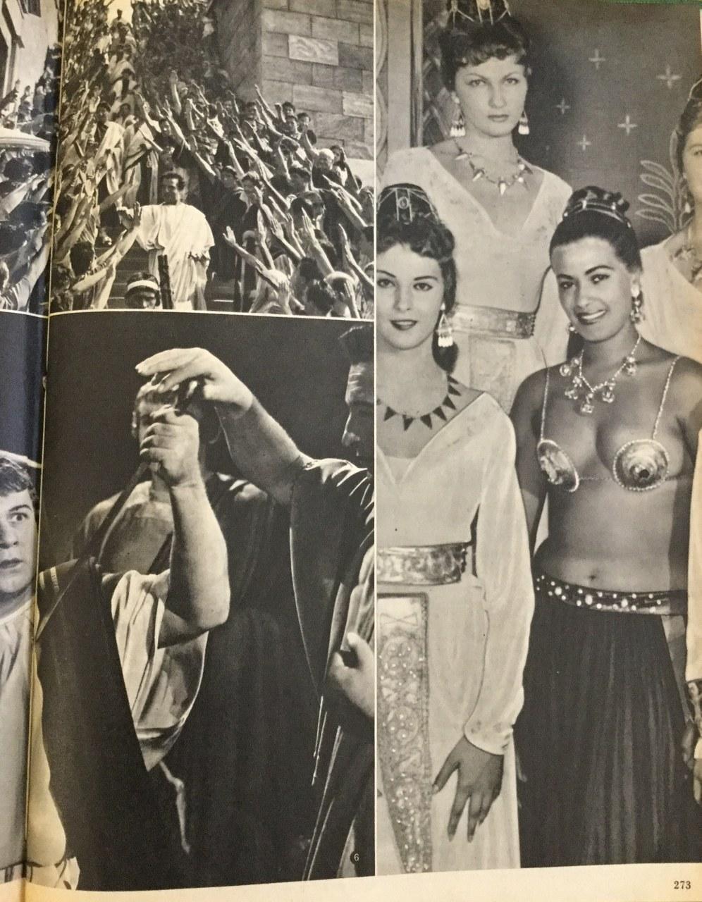 <p>«Gruppo di famiglia in una pausa di Teodora imperatrice di Bisanzio», recita la didascalia a corredo dell'immagine a destra (<em>Cinema nuovo</em>, 22, novembre 1953)</p>