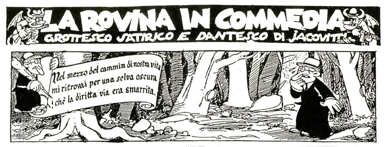 <p>Benito Jacovitti,<em>La rovina in commedia</em>, china su carta, 1947,particolare</p>