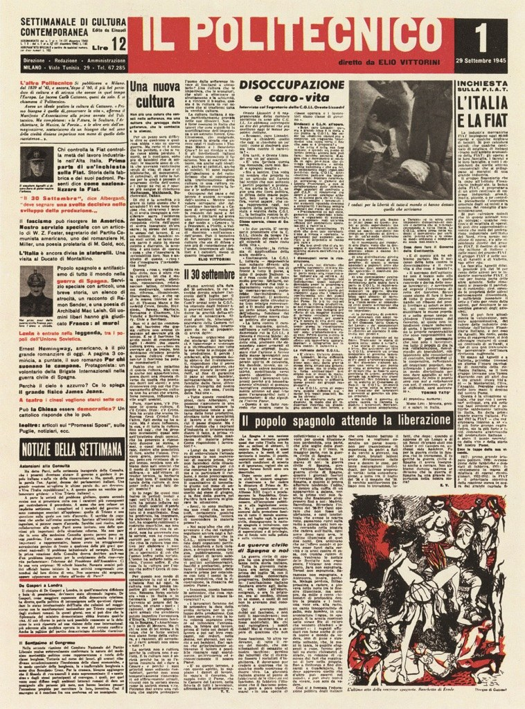 <p><br />Fig. 7 Prima pagina del <em>Politecnico</em>, 1, 29 settembre 1945</p>