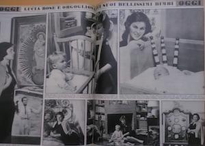 <p>Lucia Bosè ritratta in unarticolo di <em>Oggi</em>, 5 dicembre 1957</p>