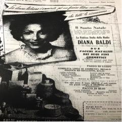 <p>Diana Baldi visibile nella pubblicità della sua linea di cosmetici</p>