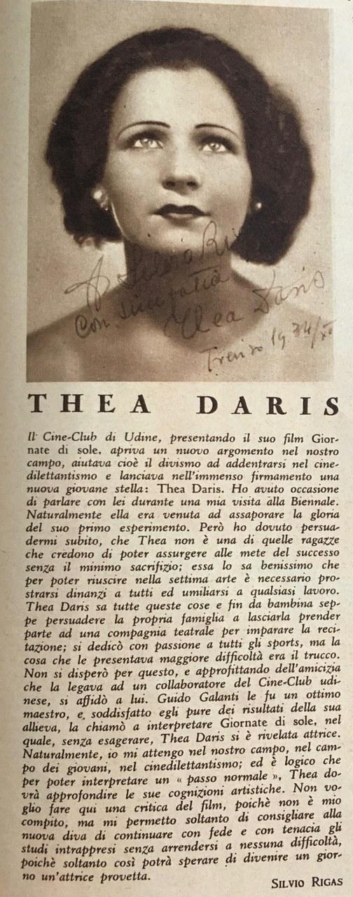 <p>Thea Daris, lanciata nel firmamento cinematografico da <em>Stelle</em></p>