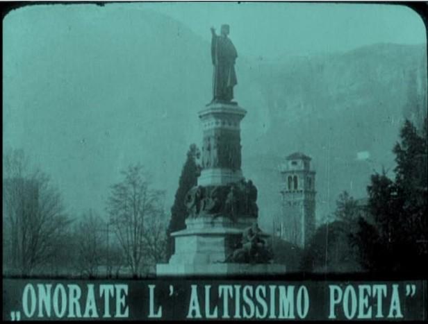 fig. 1 L'inquadratura finale diInferno(Milano Films 1911) fatta rimuovere dalla censura nel 1914: il monumento di Dante a Trento