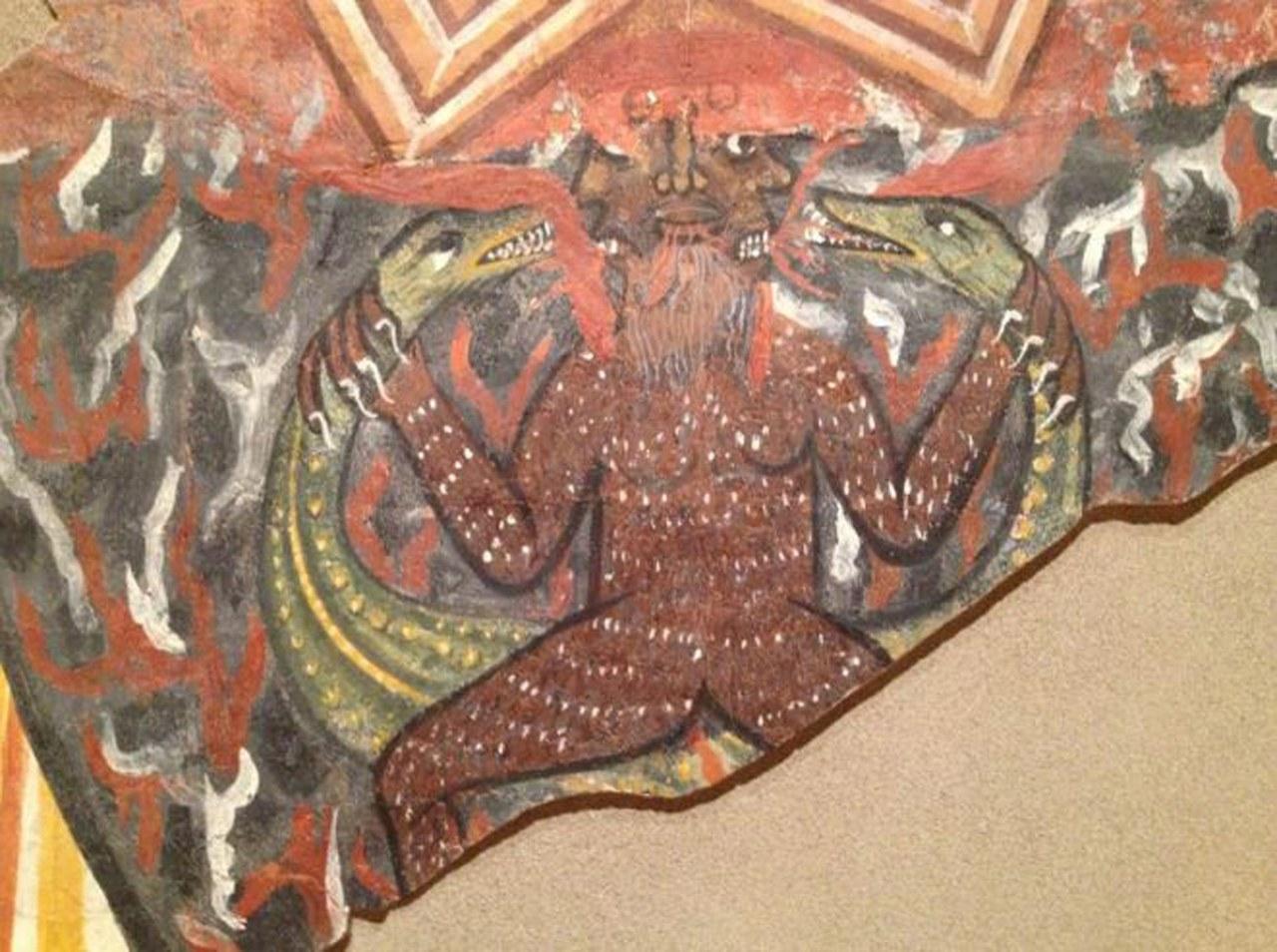 fig. 2 Treviso, Museo diocesano di Arte Sacra, particolare dell'Anastasis proveniente dalla cappella del palazzo arcivescovile, il demonio, 1260