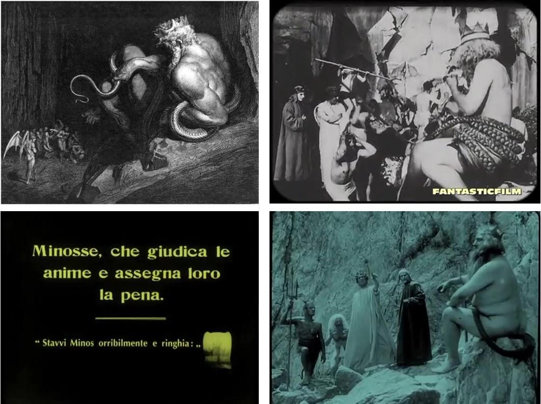 fig. 2 Minosse. In alto a sinistra l'incisione di Doré, in alto a destra il personaggio raffigurato inVisioni dall'Inferno(Helios Film 1911); in basso la didascalia e il quadro animato diInferno