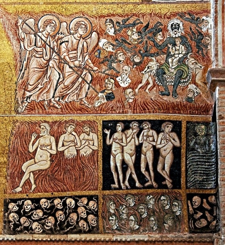 fig. 3 Torcello, Santa Maria Assunta: ilGiudizio universalenella controfacciata della basilica, particolare della porzione dedicata all'inferno, secolo XI
