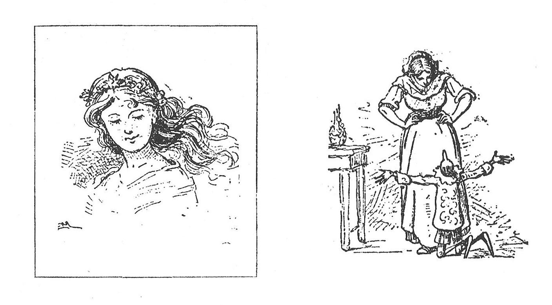 Fig. 1a. Enrico Mazzanti, La Bella bambina dai capelli turchini fa raccogliere il burattino1b. Enrico Mazzanti, Pinocchio riconosce la Fata nella buona donna