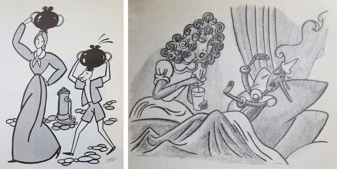 Fig.1a. Sto,La brocca era molto pesa, e il burattino… si rassegnò a portarla in capoFig. 1b. Bruno Angoletta,La Fata porge la medicina a Pinocchio