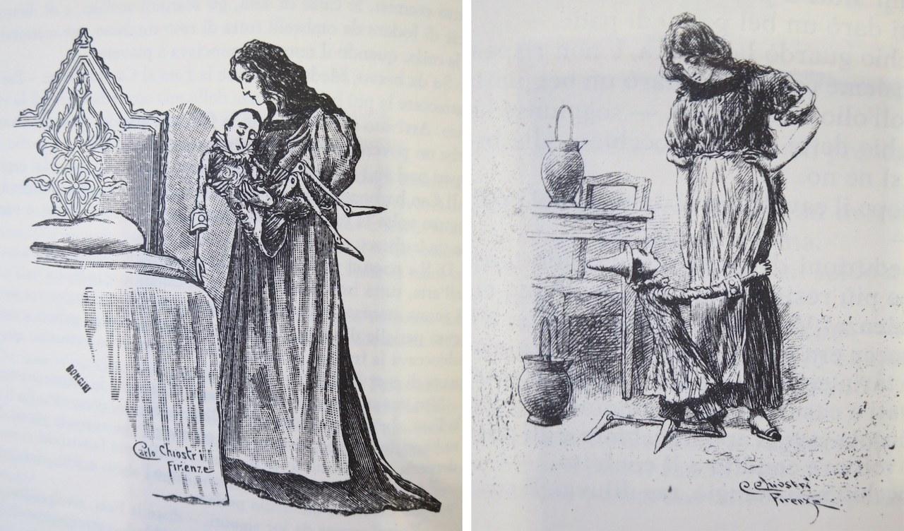 Fig. 2a. Carlo Chiostri, Pinocchio nel palazzo della Fata Fig. 2b. Carlo Chiostri, Pinocchio riconosce la Fata nella buona donna