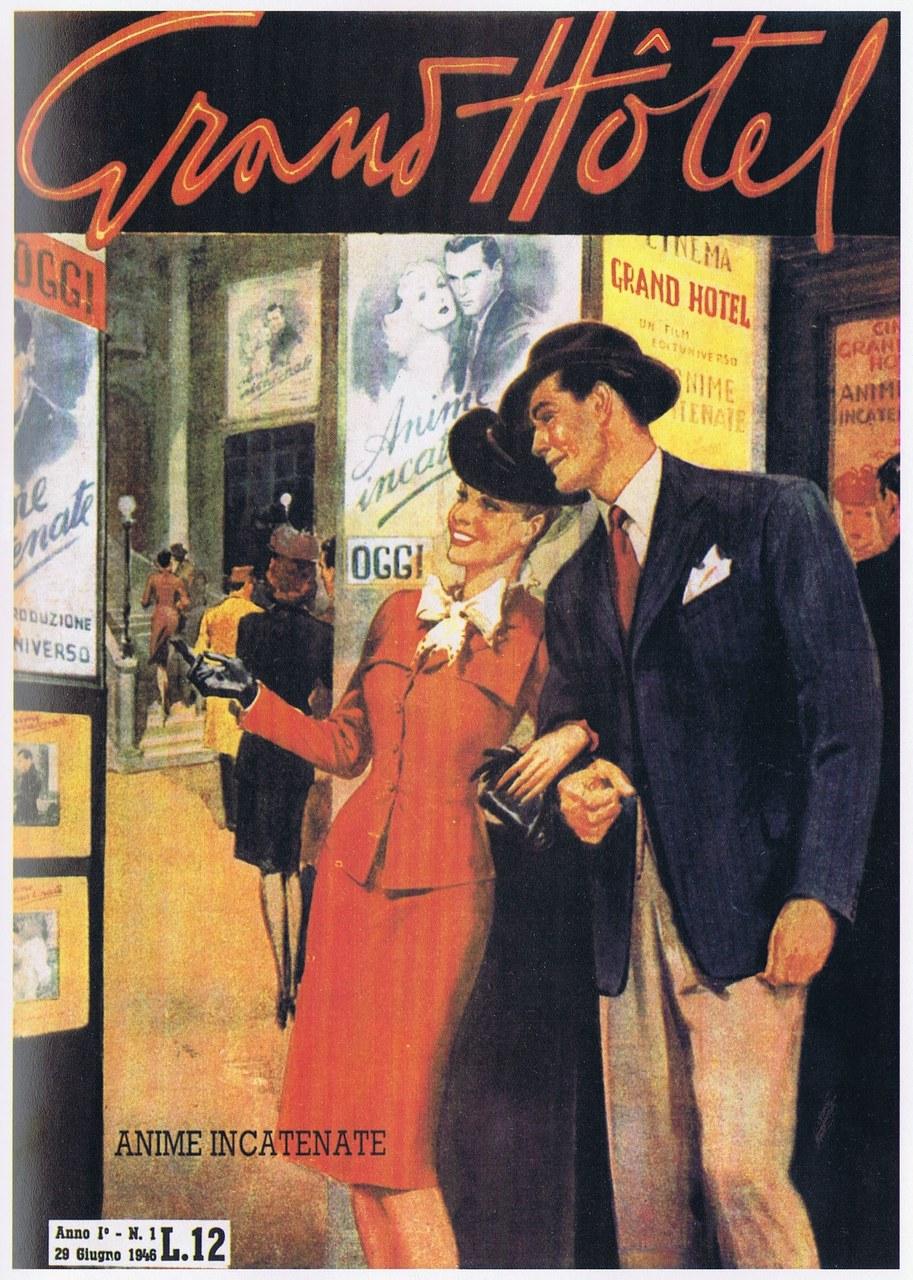 Première couverture de Grand Hôtel (29 juin 1946), le magazine du cœur qui lance le genre du 'roman dessiné', d'où naîtra plus tard le roman-photo