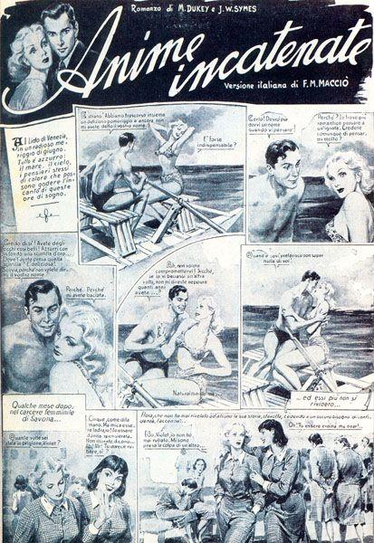Première page de Anime Incatenate, premier 'roman dessiné' de Grand Hôtel (29 juin 1946)