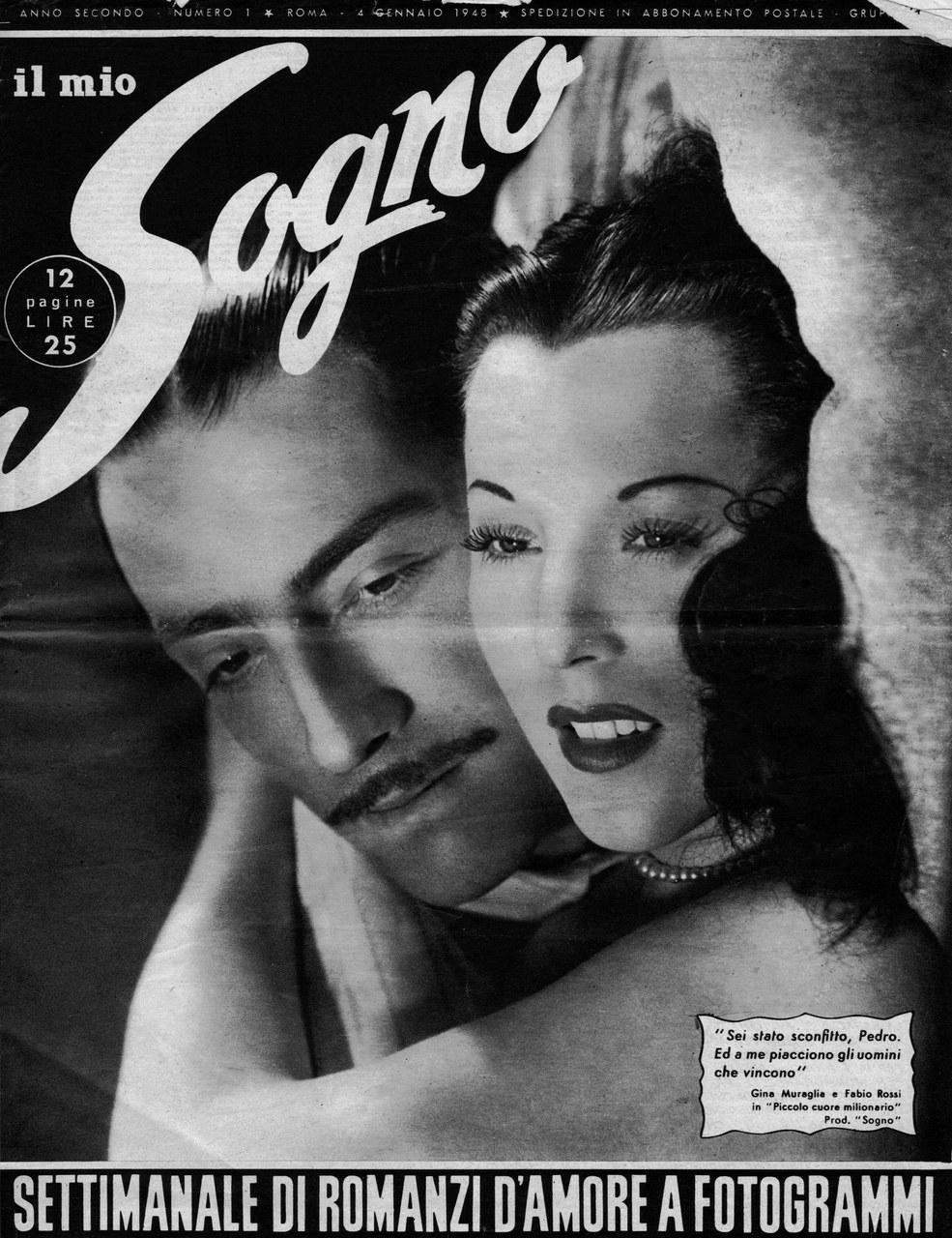 Une des premières couvertures de Il Mio Sogno (4 janvier 1948) qui inaugure le genre du roman-photo