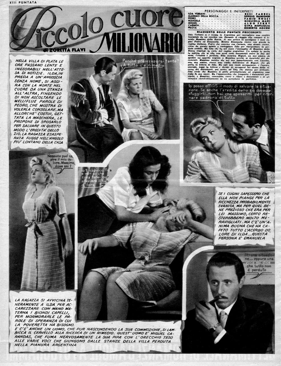 Piccolo cuore milionario, fragment d'un des premiers romans-photos publiés dans Il Mio Sogno (4 janvier 1948)