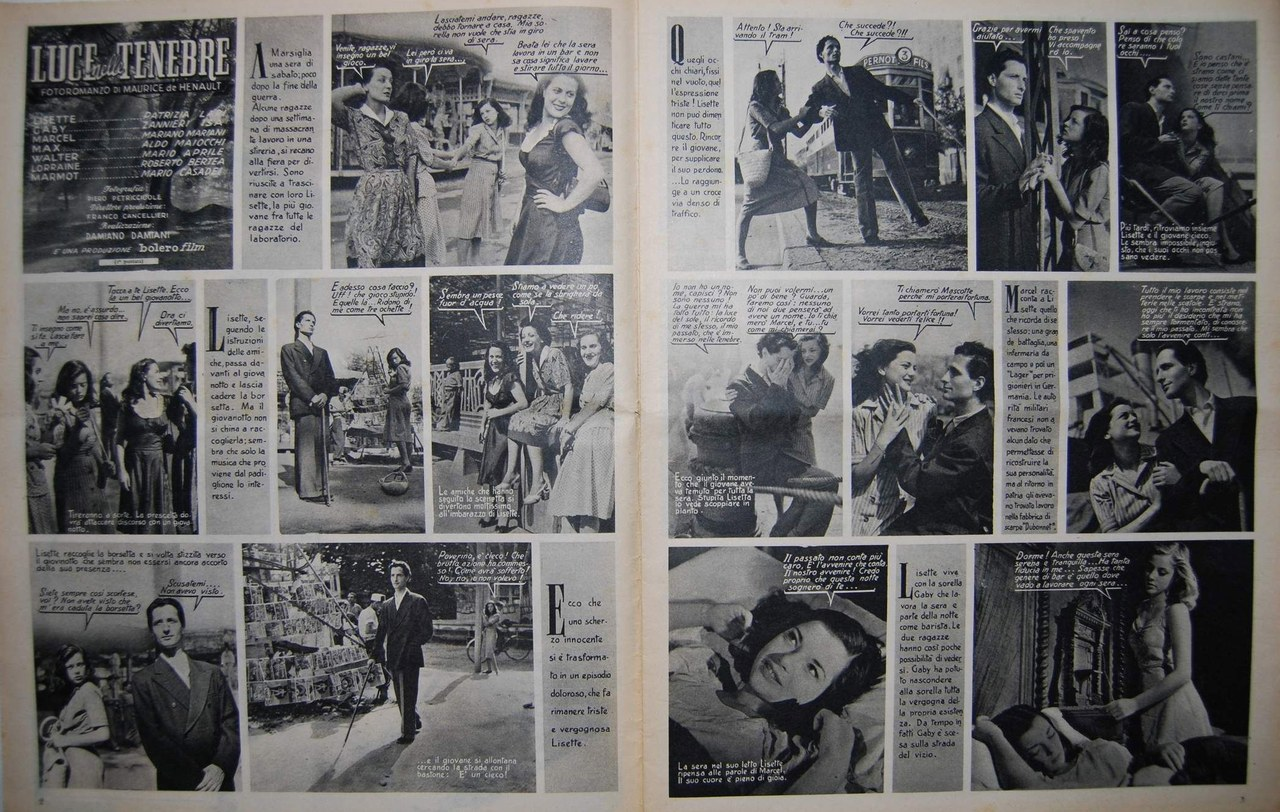 Fragment d'un roman-photo Luce nelle tenebre de Bolero (24 août 1947)