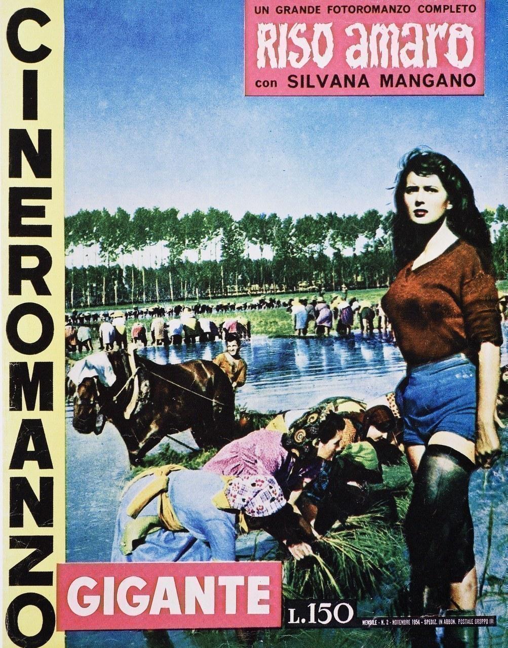 Couverture du cineromanzo tiré de Riso Amaro, dir. Giuseppe De Santis, avec Silvana Mangano (1948)