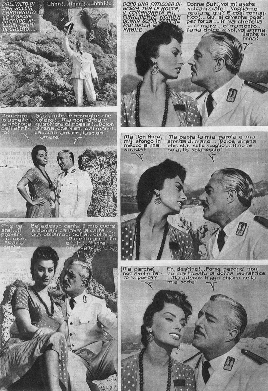 Fragment du cineromanzo tiré de Pane, Amore e..., dir. Dino Risi, avec Sophia Loren et Vittorio De Sica (1955)