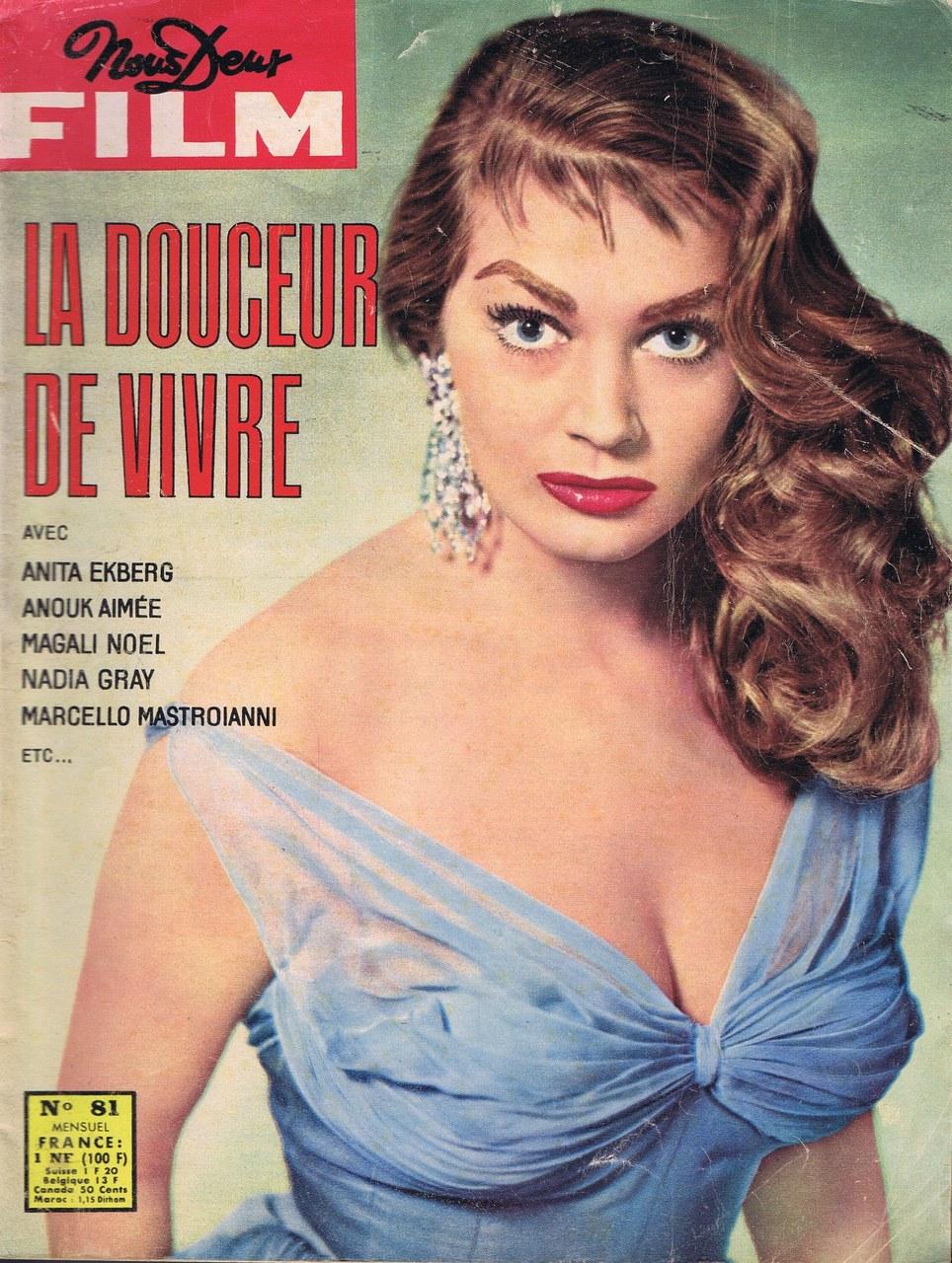 La dolce vita, dir. Federico Fellini: couverture du magazine Nous Deux Film, complément de Nous Deux (version française de Grand Hôtel), 1960
