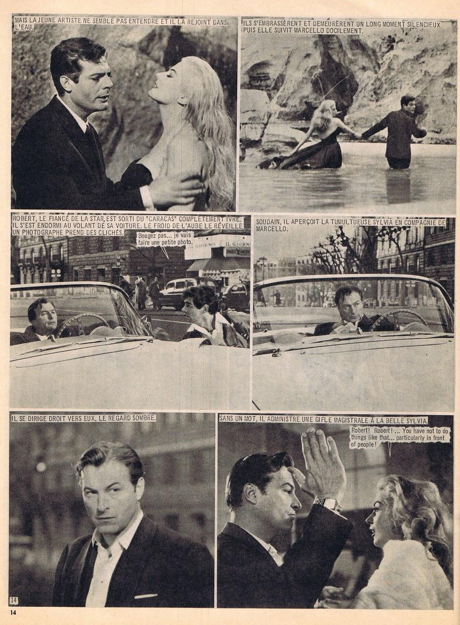 Fragment du roman-photo tiré de La dolce vita, dir. Federico Fellini, publié dans Nous Deux Film, 1960
