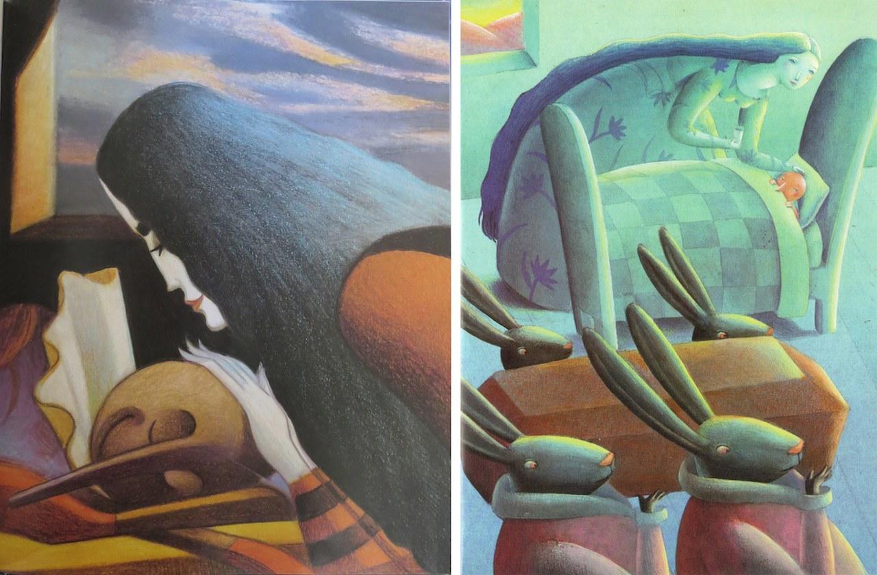 Fig. 5a. Lorenzo Mattotti, Pinocchio vede in sogno la FataFig. 5b. Ceccoli, I quattro conigli neri portano una piccola bara