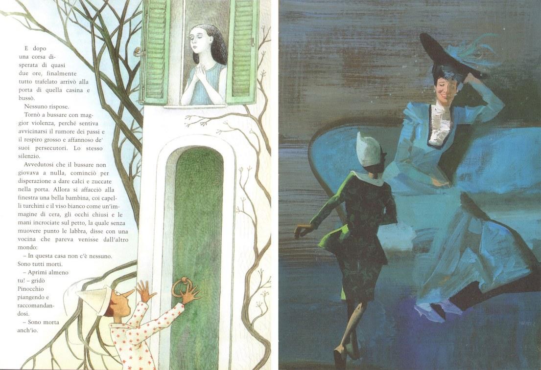 Fig. 6a. Cecco Mariniello, La bella Bambina si affaccia alla finestra. Fig.6b. Ferenc Pinter, La buona donna ammette di essere la Fata
