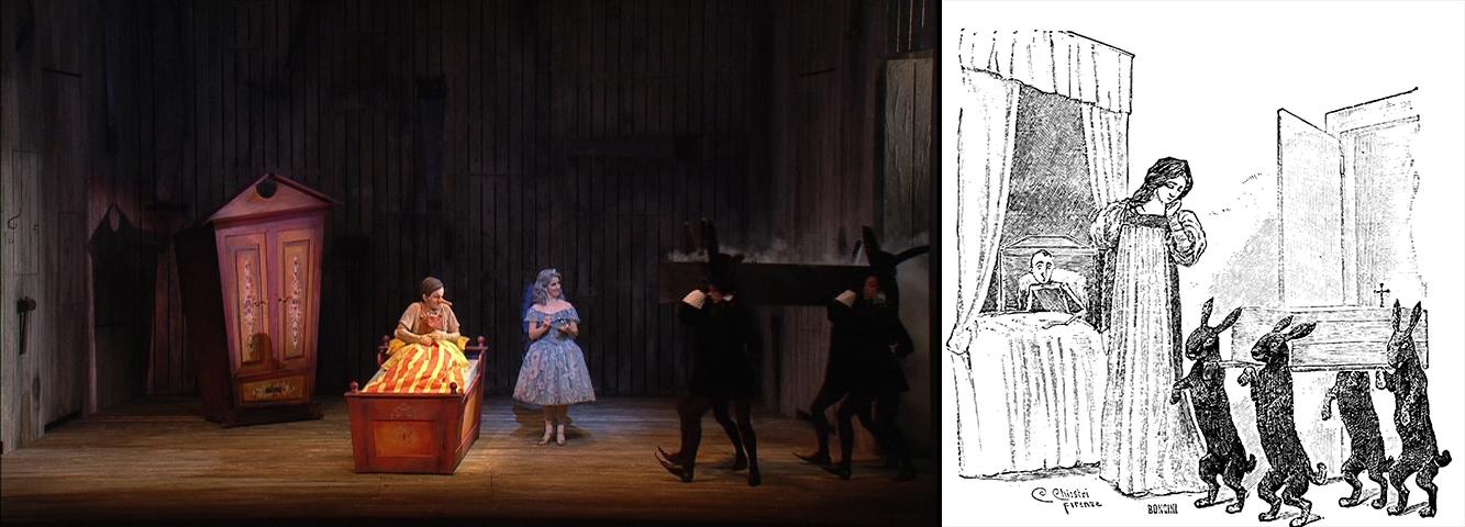 Fig. 2. I conigli portano la bara nella casa della fatina: l'opera di Dove (messa in scena presso il Sadler's Wells Theatre di Londra, 2008) e l'illustrazione di Carlo Chiostri (1901)