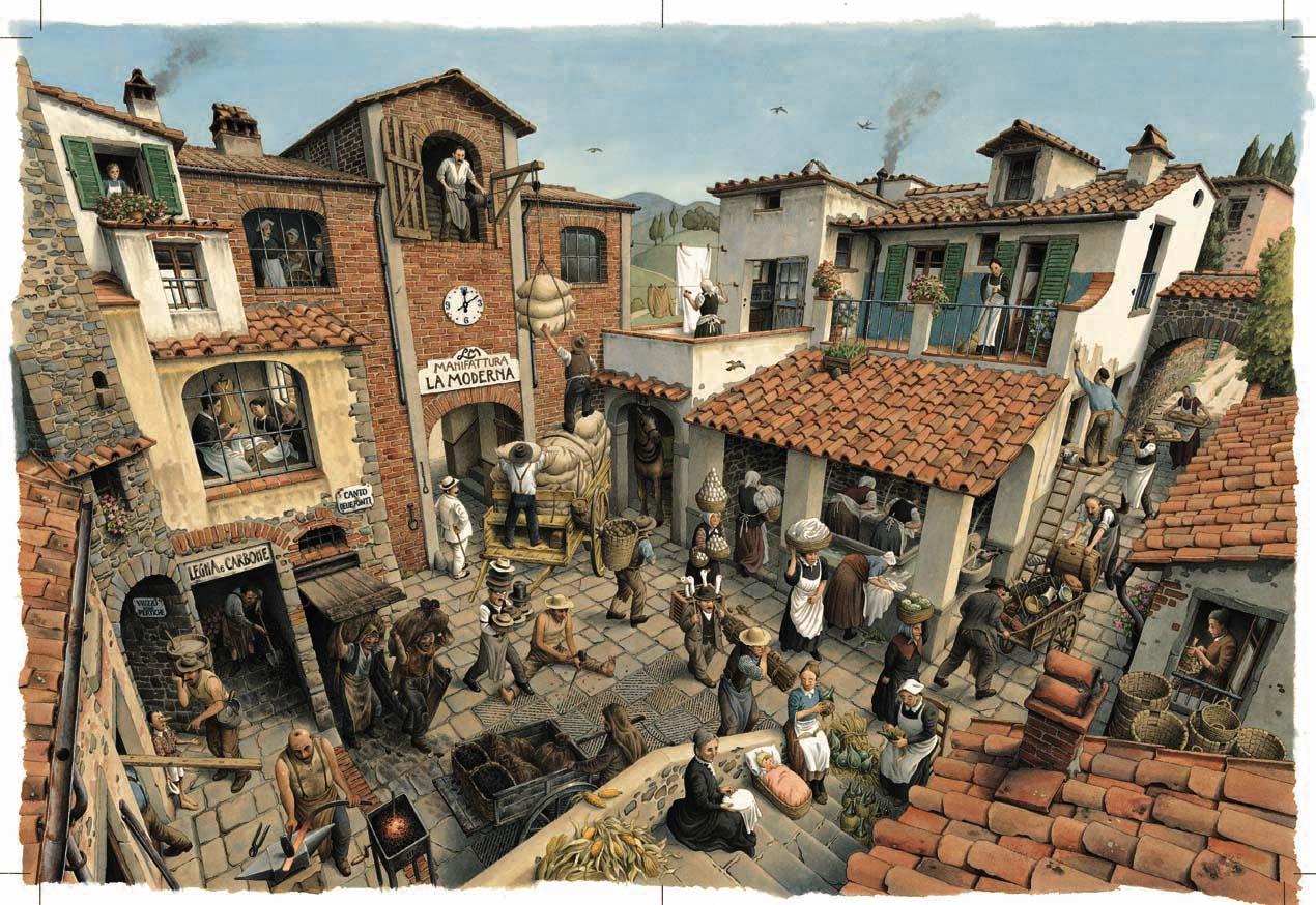 Fig. 4. Roberto Innocenti, illustrazione per Pinocchio, 1986. Acquerello su carta Fabriano, 44,1x63,2 cm