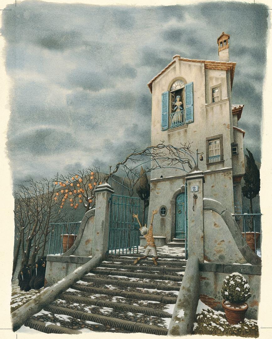 Fig. 5. Roberto Innocenti, illustrazione per Pinocchio, 1987. Acquerello su carta Fabriano, 38x34,5 cm