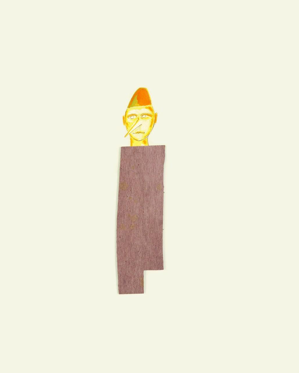 Fig. 1. Mimmo Paladino, opera grafica per Pinocchio, 2004. Serigrafia, acquerello, collage in legno, 60x45 cm