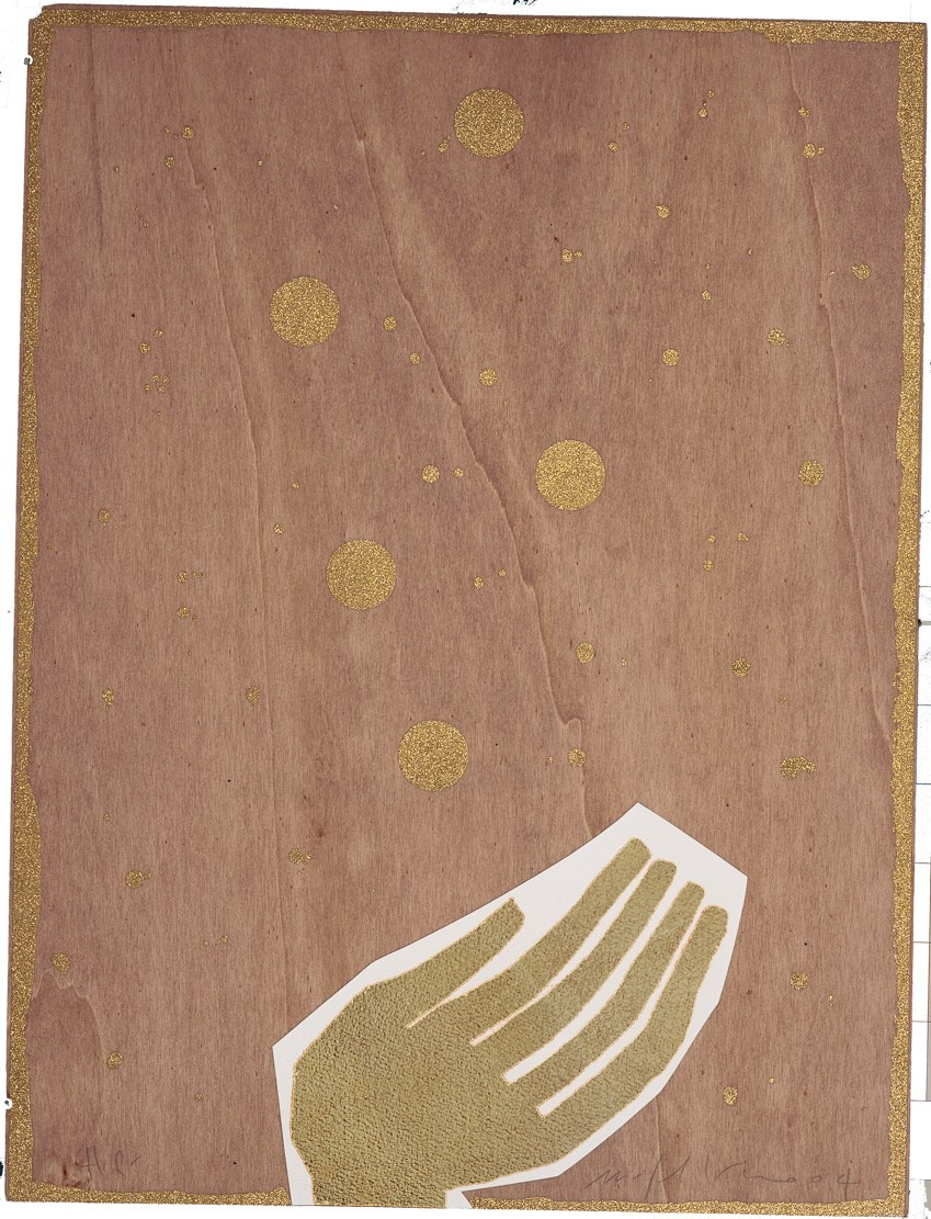 Fig. 3. Mimmo Paladino, opera grafica per Pinocchio, 2004. Serigrafia su legno, oro in foglia, collage, 60x45 cm