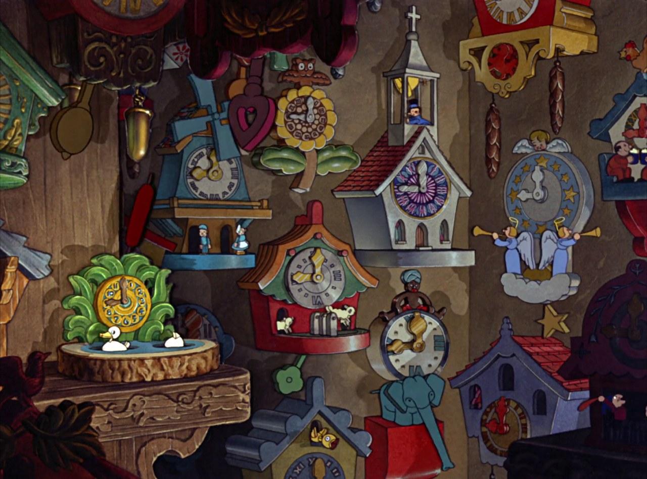 Fig. 2. La casa-bottega di Geppetto (B. Sharpsteen, H. Luske, Pinocchio, Walt Disney Studios, 1940)