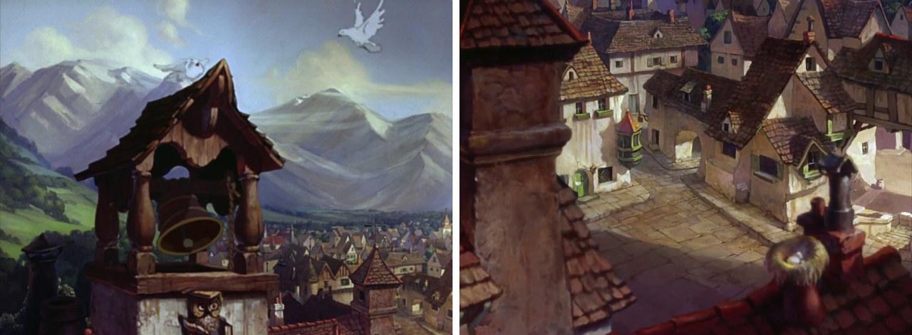 Fig. 4. Il villaggio di Pinocchio (B. Sharpsteen, H. Luske, Pinocchio, Walt Disney Studios, 1940)