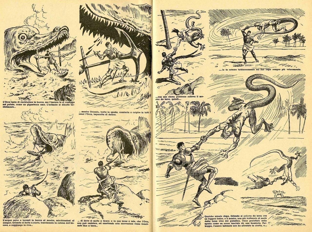 Gian Luigi Bonelli, Rino Albertarelli,Orlando, l'orca marina e il mostruoso Gerione, 1942, [tavv. 51 e 82]