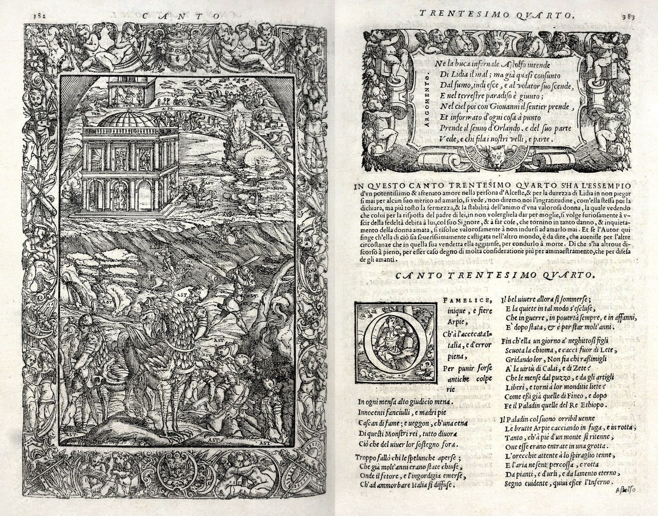 Ludovico Ariosto,Orlando furioso, Venezia, Valgrisi, 1556, canto XXXIV, xilografia