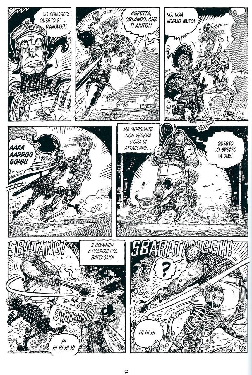 Mauro Cicarè, La lotta di Orlando e Morgante contro ildemonio, matita e china su carta, 2012, tav. 26 [per gentile concessione dell'autore]