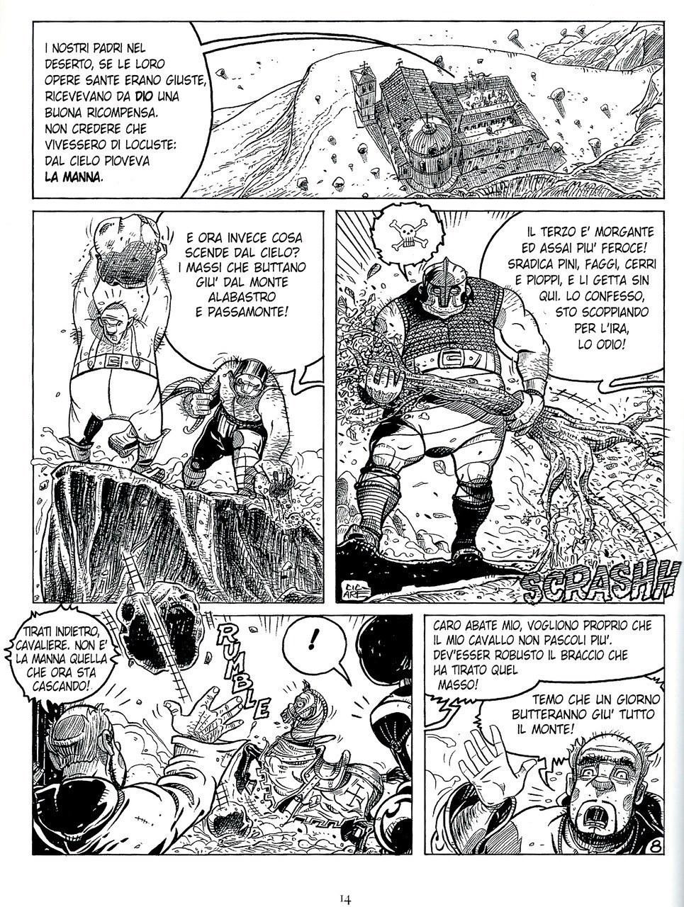 Mauro Cicarè,La caduta della manna, matita e china su carta, 2012, tav. 8 [per gentile concessione dell'autore]