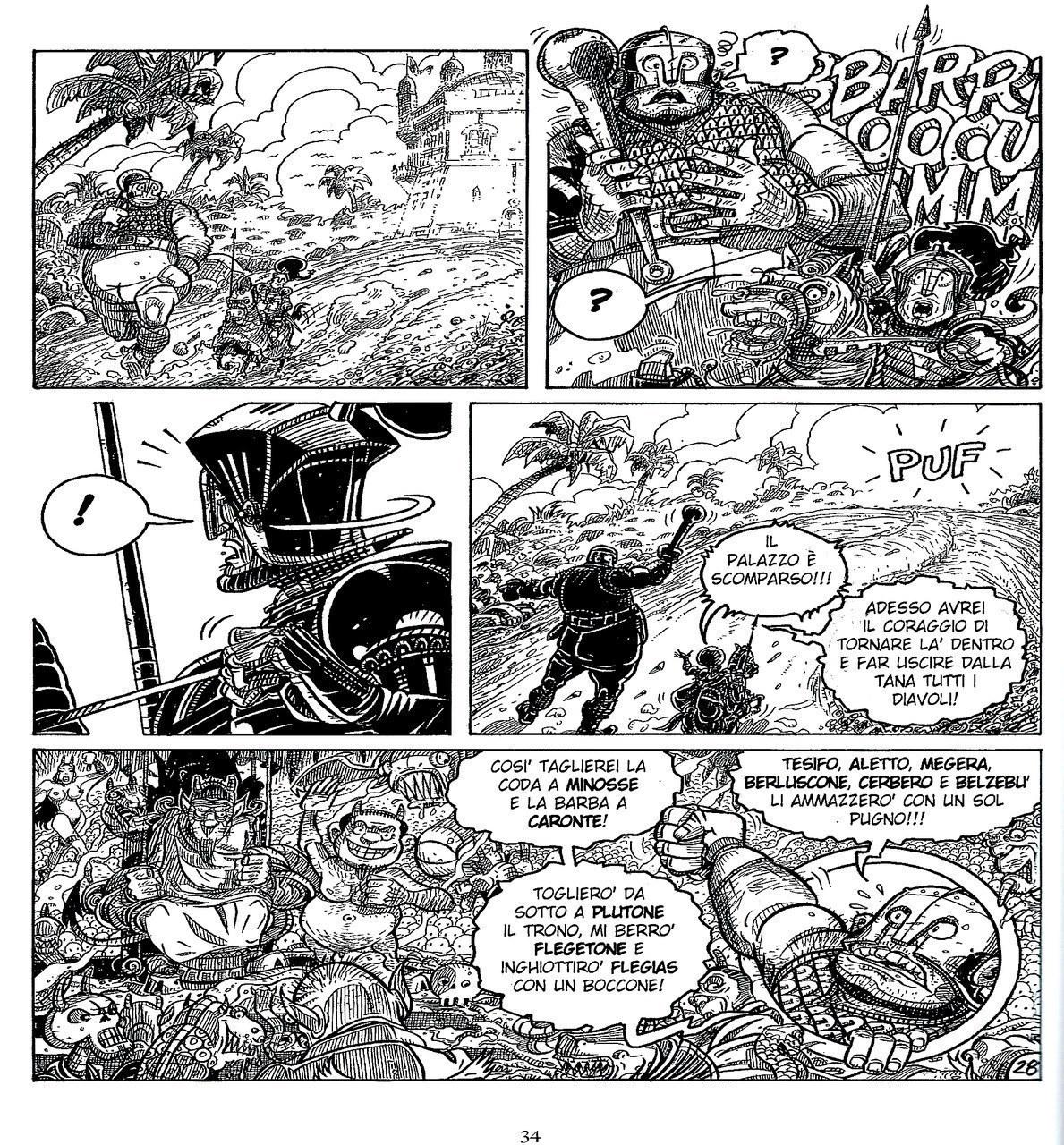 Mauro Cicarè,Morgante minaccia l'inferno, matita e china su carta, 2012, tav. 28 [per gentile concessione dell'autore]