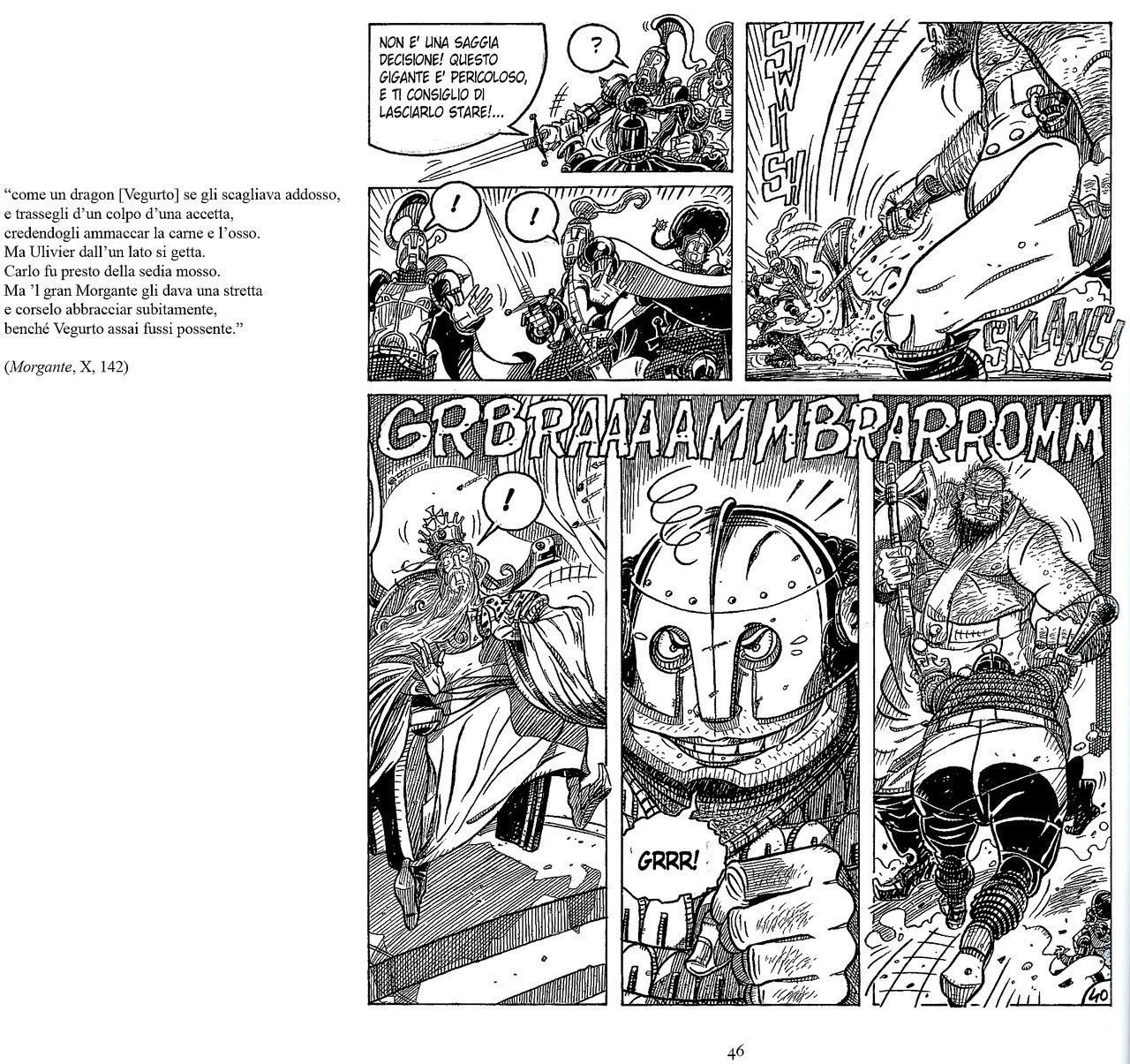 Mauro Cicarè,Il duello tra Morgante e Vegurto, matita e china su carta, 2012, tav. 40 [per gentile concessione dell'autore]