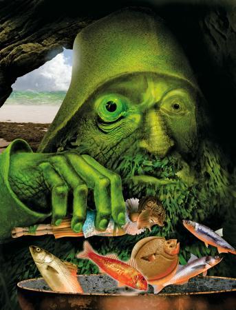 Fig. 4. Grahame Baker Smith, Pinocchio nella padella del pescatore verde
