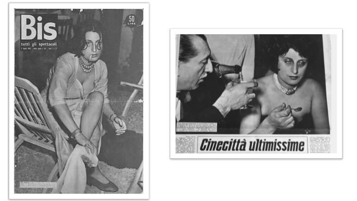 """Copertinadi """"Bis"""", n. 21, 3 agosto 1948 e """"Bis"""", n. 10, 12 marzo 1949- Coll. Museo Nazionale del Cinema, Torino"""