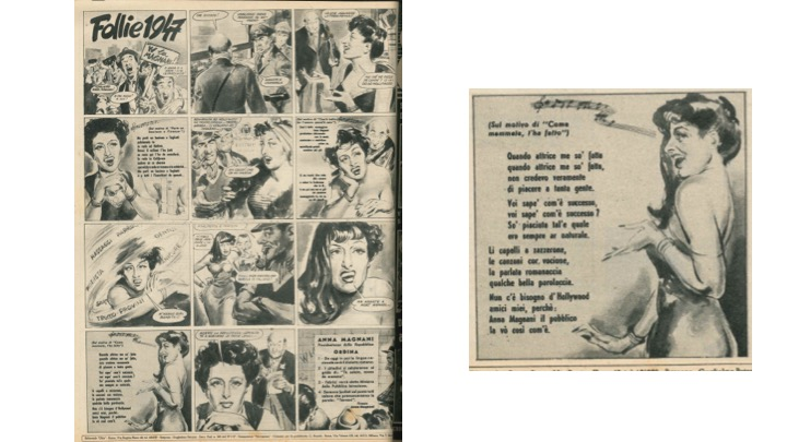 """Follie 1947. Grande rivista ad immagini realizza da Ciriello in """"Otto. Settimanale di varietà"""", n. 9, 16 marzo 1947 - A dx un dettaglio della tavola  Coll. Museo Nazionale del Cinema, Torino"""