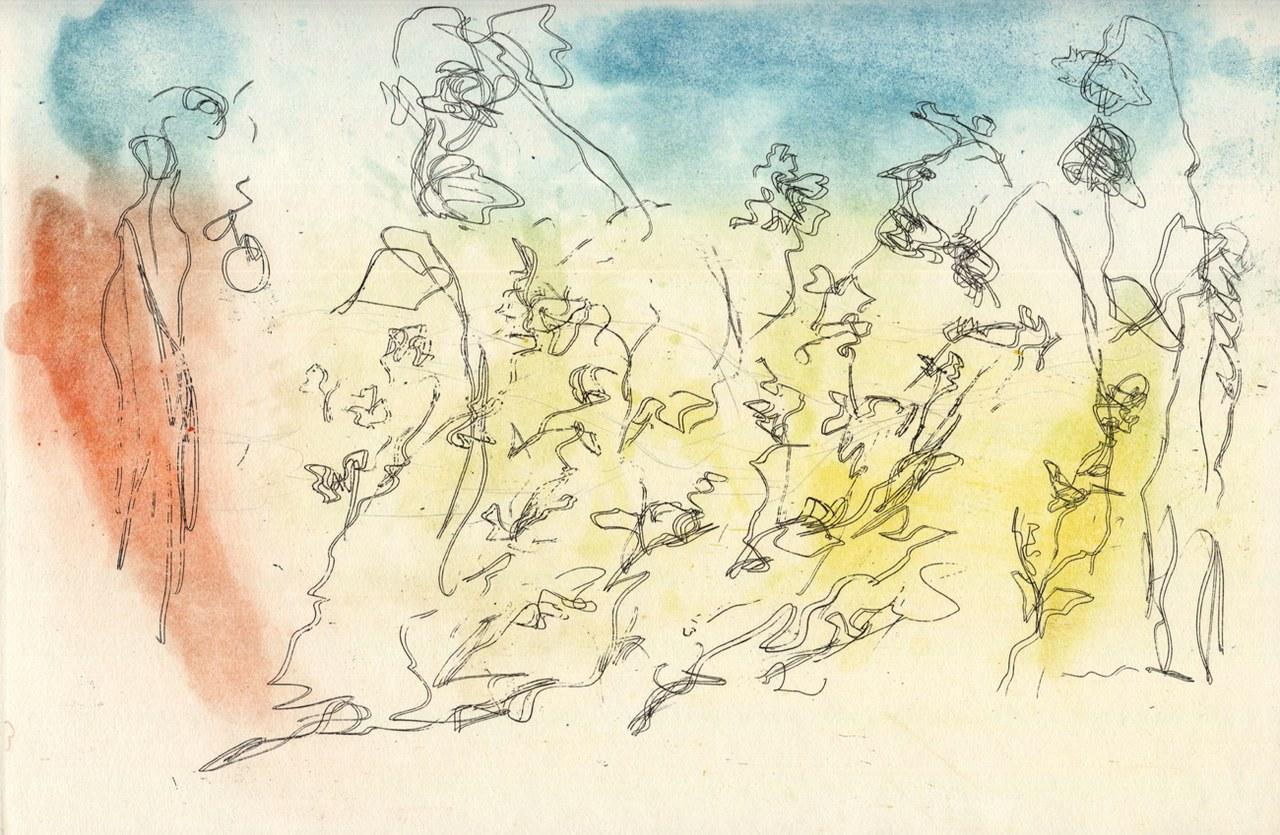 Acquaforte a colori di Ernesto Treccani per Ginsberg, 1969
