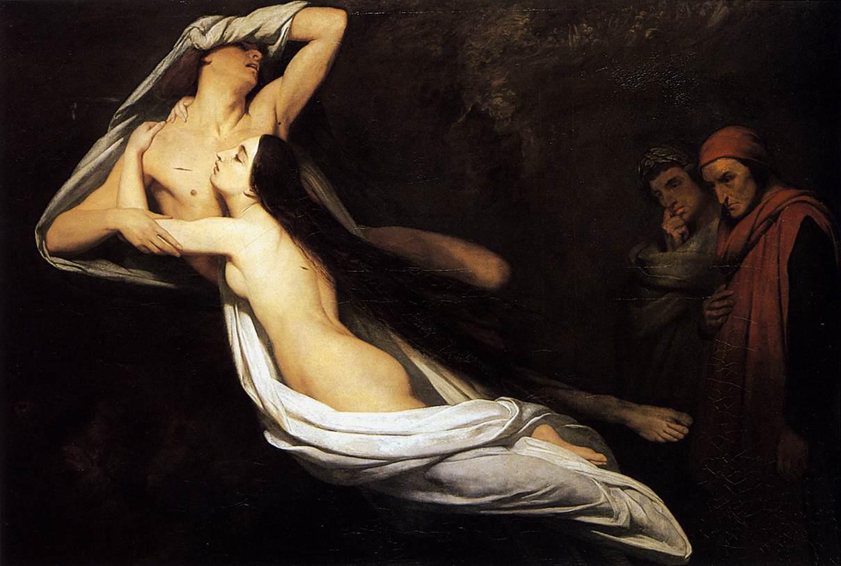 fig. 2 Ary Scheffer,Le anime di Paolo e Francesca appaiono a Dante e a Virgilio, 1835
