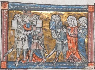 fig. 1La regina bacia Lancillotto mentre Galehot li osserva, London, British Library, ms. Add. 10293 (inizi secolo XIV, forse 1316), f. 78r.