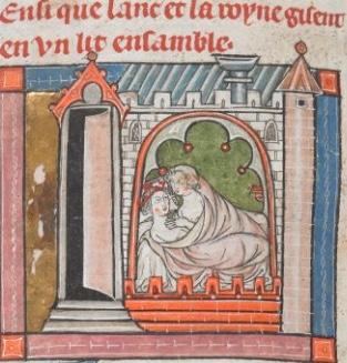 fig. 3Lancillotto e Ginevra a letto,London, British Library, ms.Add. 10293 (inizi secolo XIV, forse 1316), f. 312v.