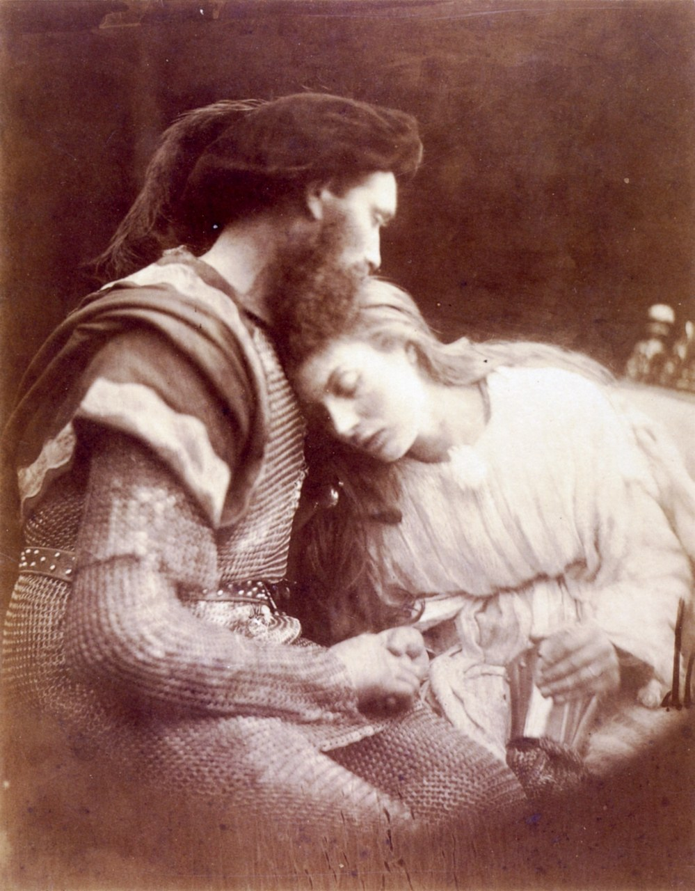 fig. 6 Julia Margaret Cameron,The Parting of Sir Lancelot and Queen Guinevere, illustrazione per Alfred Tennyson,Idyllis of the King and Other Poems. I modelli sono Andrew Hichens e Mary Prinsep, Paris, Musée d'Orsay