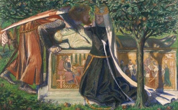 fig. 7 Dante Gabriel Rossetti,La tomba di Artù(1860), acquarello su carta, 23,5 x 36,8, London, Tate Gallery