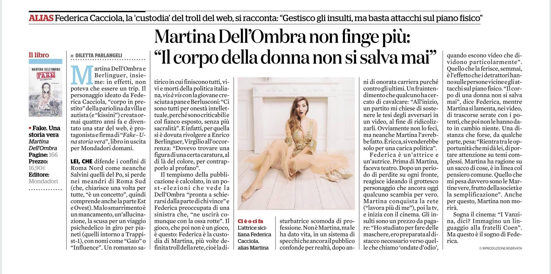 Fig. 4 Diletta Parlangeli, 'Martina Dell'Ombra non finge più', Il fatto quotidiano, 5 marzo 2018