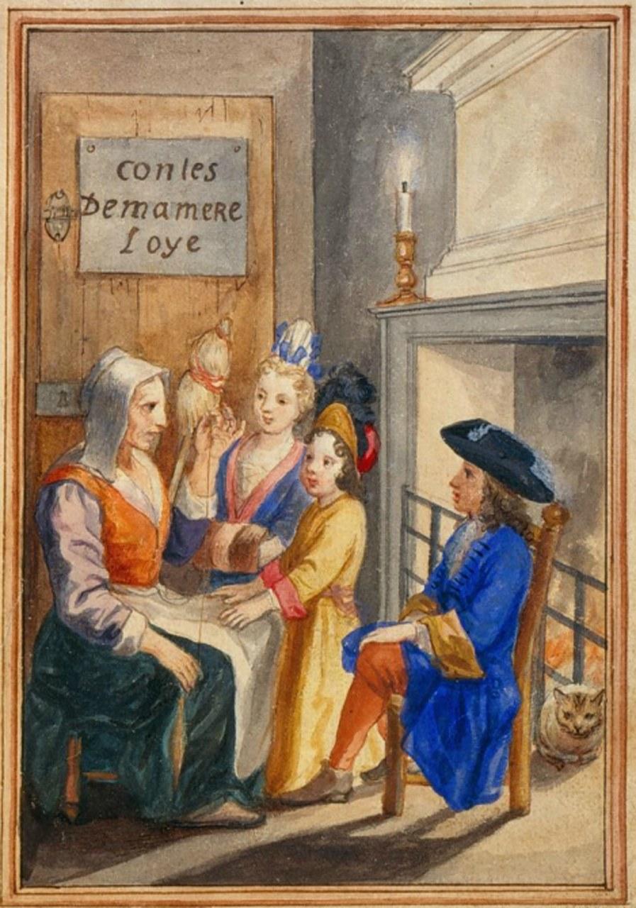 Fig. 1 Anonimo disegnatore della fine del XVII secolo, Disegno del frontespizio dei Contes de ma mère l'Oye, 1695, New York, Morgan Library (wikimedia commons)